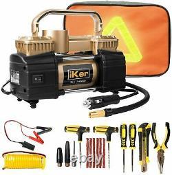 12V Heavy Duty Portable Air Compressor Car Auto Tire Inflator Pump + Repair Kit