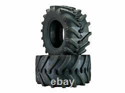(2) 24x12.00-12 Lawn Trac Bar Lug Tires 4 Ply Rating Heavy Duty