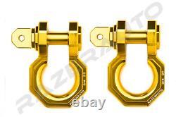 2pcs 3/4 Yellow 3.0 Ton Aluminum D-Ring Bow Anchor Shackle Heavy Duty Off road
