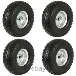 4 PK Set Solid Rubber Replacement Tire Wheel Yard Cart Wagon Trolley 10 No Flat