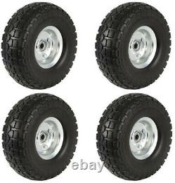 4 Pack 10 Solid Rubber Tyre Replacement Wheels Garden Wagon Trolley Cart Tires