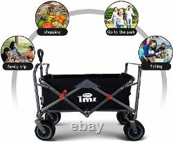 All-Terrain Folding Handcart with Car Tyres with Push Handle, Removable Storage
