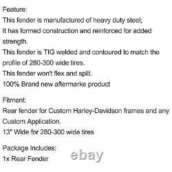 Custom 13 Rear Fender Fit 280-300 Tire Strutless Heavy Duty For Harley Softail