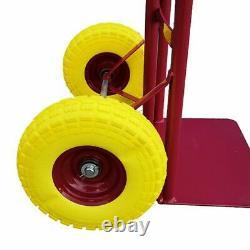 Hand Truck Heavy Duty Sack Industrial Trolley PU Rubber Tyres Wheels 600LB UKED