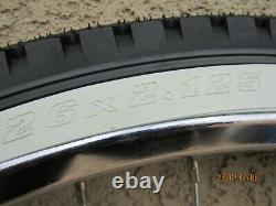 New 26'' X 2.125 Heavy Duty Chrome Bicycle Rim Set, Tires & Tubes Cruiser