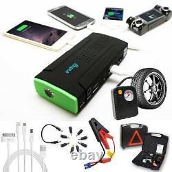 Powerful 12V Power Bank Car Jump Starter Tire Compressor Cellphone Tablet Laptop
