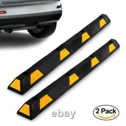 Pyle Heavy Duty Rubber Parking Tire Block, Vehicle Stopper, Cars/Trucks (Pair)