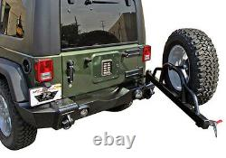 Rampage Rear Recovery Bumper with Tire Carrier 07-16 Jeep Wrangler JK 88606 Black