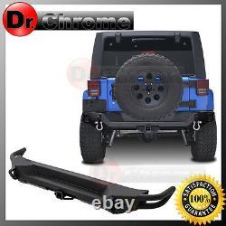 Rock Heavy Duty FULL WIDTH Rear Bumper+2 Hitch for 07-18 Jeep JK Wrangler