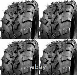 Set 4 25x8-12 25x11-12 A/T ATV Tires Heavy Duty Tubeless Two 25x8-12 2-25x11-12