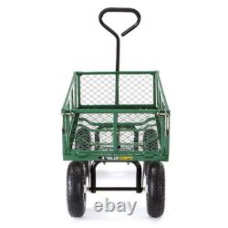 Steel Cart Garden Mesh Utility Heavy Duty 400 Tires Carts Wagon Removable Sides