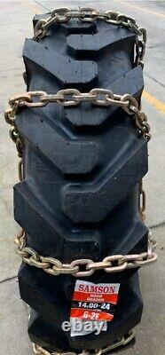 USA 14.00-24 ALLOY SQUARE LINK Loader Grader Scraper Tire Chains+2 CROSS CHAIN