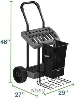 Yard Cart Lawn/Garden Tool Box on Wheels Removable Harvest Bag Flat-Free Tires